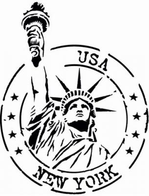 Pochoir usa statue de la liberte etats unis stencil div45555
