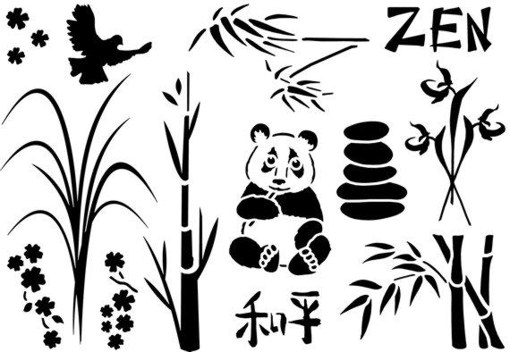 Scrap001 zen bambous pochoir scrapbooking
