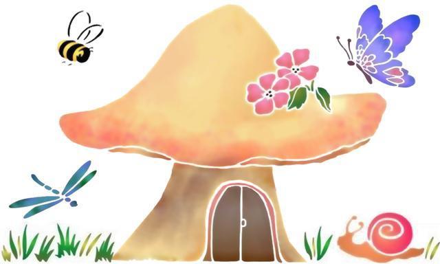 Spe052 champignon insectes pochoir a peindre