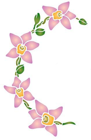 Spf0025 orchidee arrondie pochoir a peindre