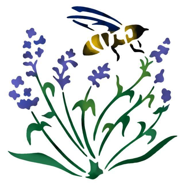 Spf056 abeille lavande pochoir