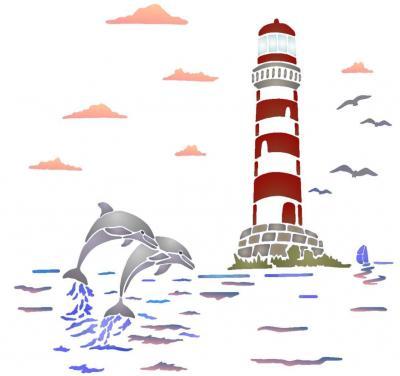 Spmu051 paysage marin phare dauphins style pochoir