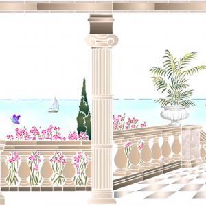 Spmu113 paysage maritime mural decoration au pochoir