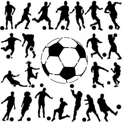 Stienfa214 footballeurs en pochoiravec ballon pochoir mural a peindre style pochoir