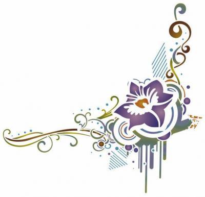 Stipo239 fleur stylisee pochoir reversible plastique style pochoir