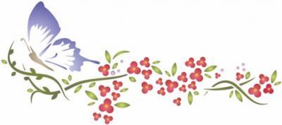 Stipo720 pochoir fleurs papillon frise murale a peindre style pochoir