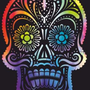 Tete de mort squelette pochoir stylise moderne mon artisane style pochoir