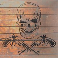 Tete de mort sur fond bois de palette en pochoir
